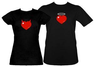 Zestaw koszulka damska + t-shirt Serce różki + aureolka
