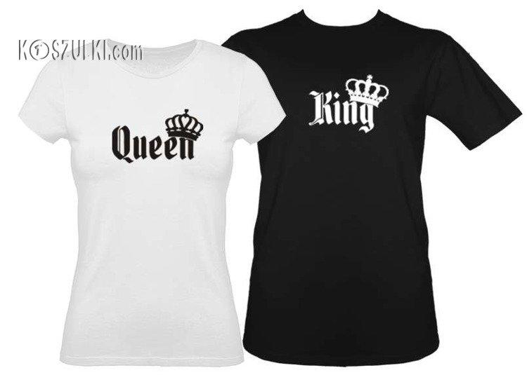 Zestaw koszulek z nadrukiem dla rodziny KING QUEEN