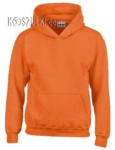 Bluza z kapturem bez nadruku Pomarańczowa