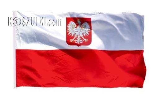 Flaga Polska z godłem  narodowa 85x60cm z tunelem na drzewiec