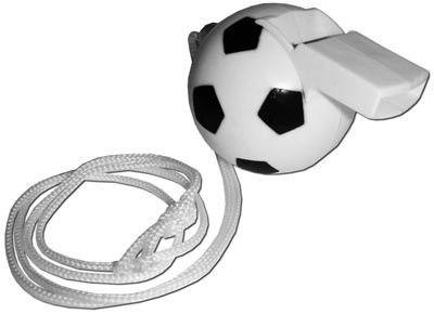 Gwizdek Kibica w kształcie piłki na sznurku