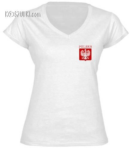 Koszulka damska V-neck małe godło