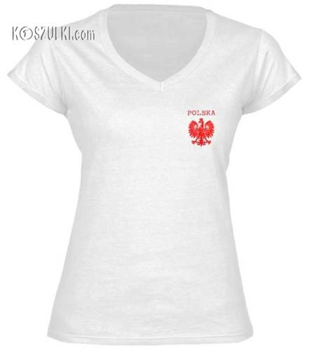 Koszulka damska V-neck mały orzeł