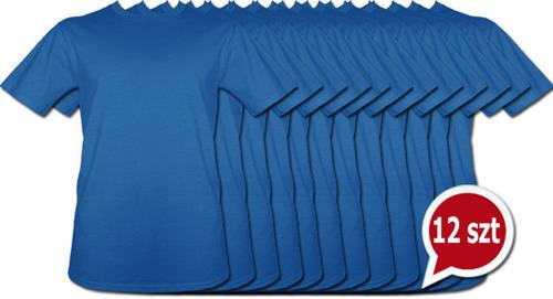 Koszulki niebieskie bez nadruku pakiet promocyjny 12szt