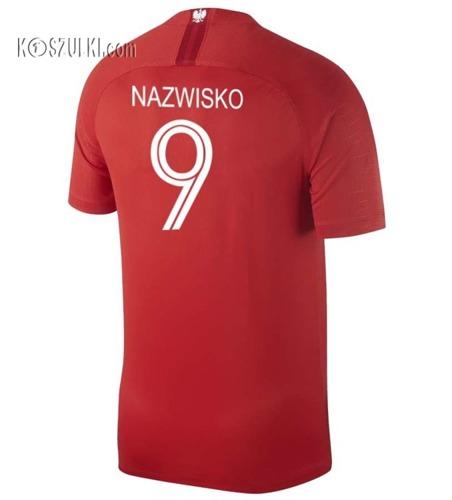 Oryginalna Koszulka Reprezentacji Polski NIKE MŚ 2018 Away Stadium Czerwona Nazwisko