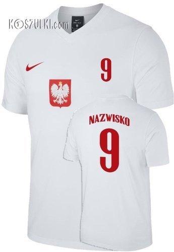 Oryginalna Koszulka Reprezentacji Polski Nike Euro 2020 Home Breathe Top Biała  Nazwisko