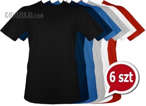 Pakiet 6 sztuk T-Shirt koszulki bez nadruku KOLOROWE