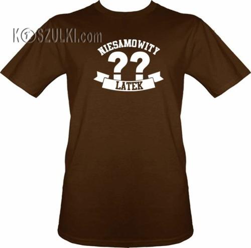 T-shirt Niesamowity ?? latek- Brązowy