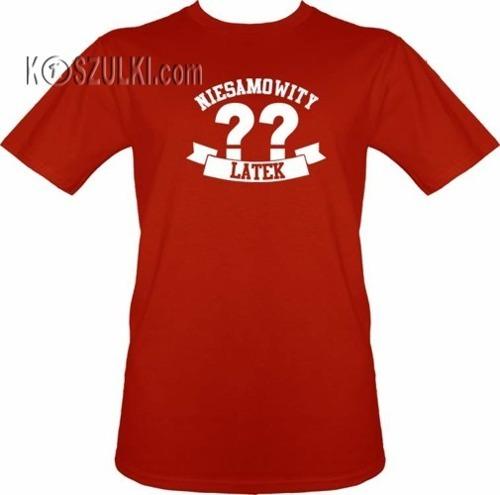 T-shirt Niesamowity ?? latek- Czerwony