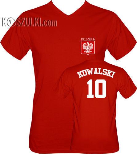T-shirt v-Neck POLSKA + WŁASNE NAZWISKO Czerwony