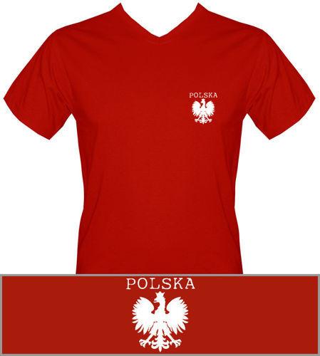 T-shirt v-Neck TV008 Polska mały Orzeł Czerwony
