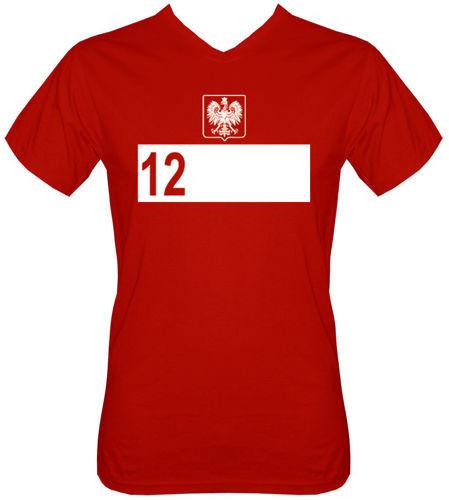 T-shirt v-Neck TV031 12 zawodnik Polska Czerwony