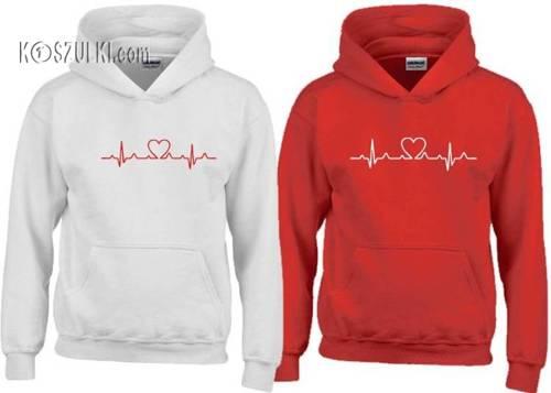 Zestaw bluz z kapturem EKG serce