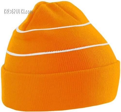 czapka zimowa dwuwarstwowa pomarańczowa z odblaskiem