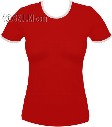 koszulka damska CZERWONA - biała lamówka