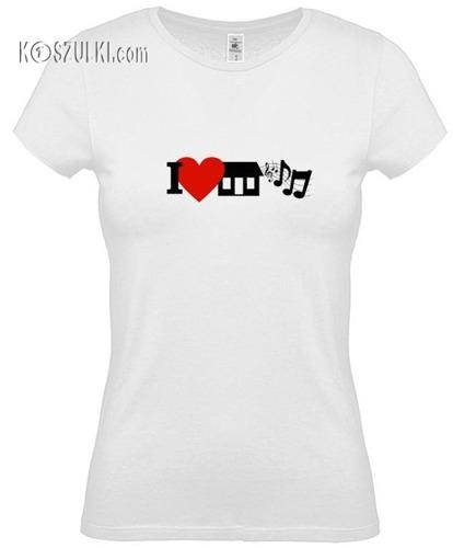 koszulka damska I Love House Music- BIAŁA