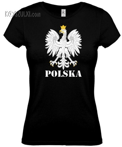 koszulka damska Kd002 Orzeł Polska- Czarna