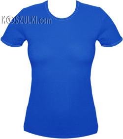 koszulka damska NIEBIESKA - niebieska lamówka