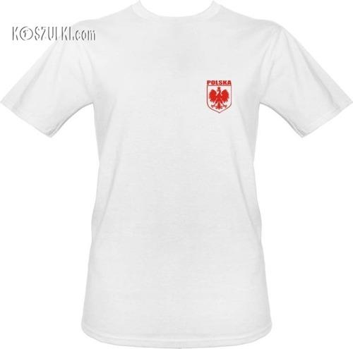t-shirt POLSKA + WŁASNE NAZWISKO Białe