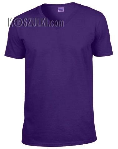 t-shirt bez nadruku w serek Fioletowy